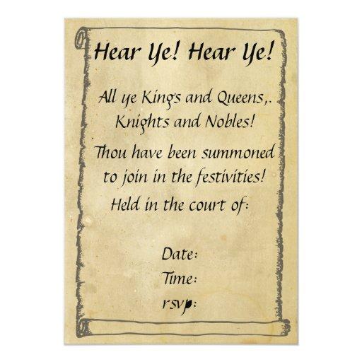 Hear Ye! Hear Ye! Scroll Invitations | Zazzle