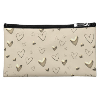 Hears Emboss Golden Elegant Glamorous Chic Makeup Bag