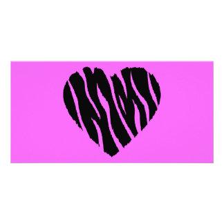 HEART35 ZEBRA HEART SHAPE LOVE GIRLY FUN PARTY CUSTOMIZED PHOTO CARD