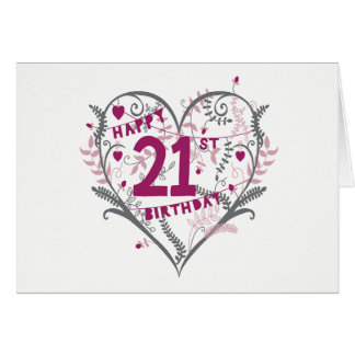 Heart 21st Birthday Card