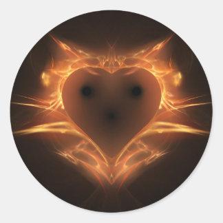 Heart a Fire Round Sticker