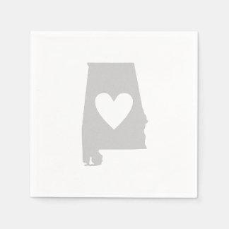 Heart Alabama state silhouette Paper Napkin