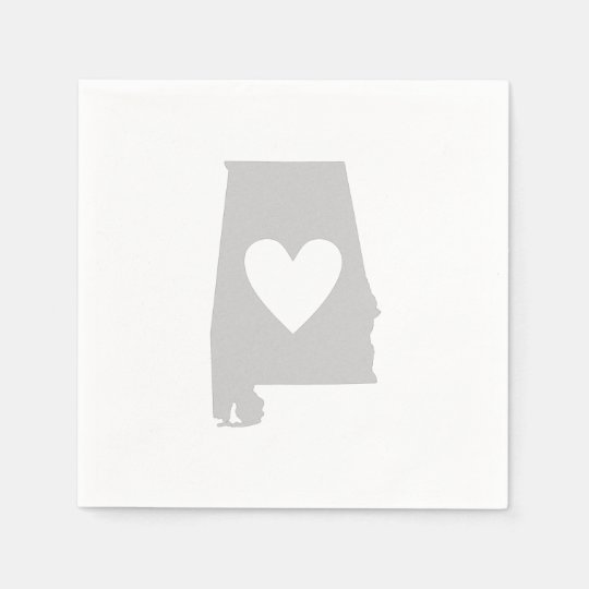 Heart Alabama state silhouette Paper Napkin