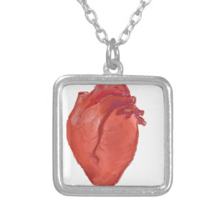 Heart Anatomy design Silver Plated Necklace
