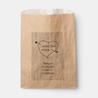 Heart and Arrow Wedding Message Favor Favour Bag