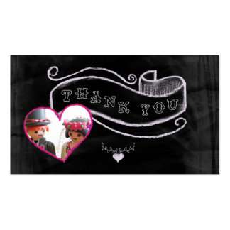 Heart and banner thank you business cards