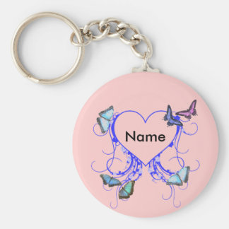 Heart and Butterfly Basic Round Button Keychain