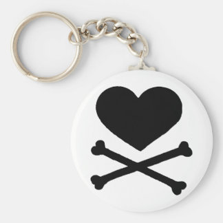 Heart and Cross Bones Basic Round Button Keychain