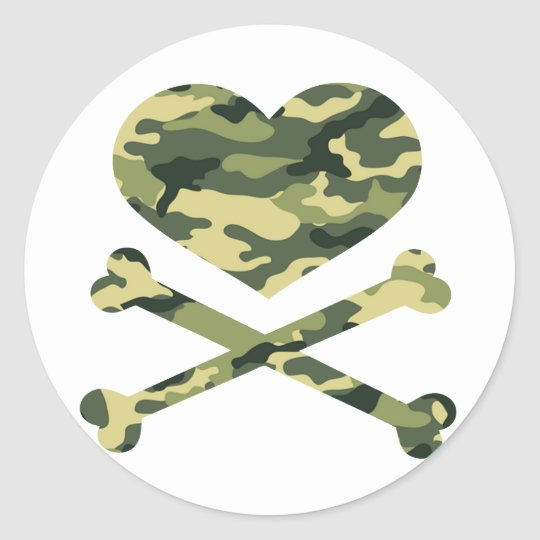 heart and cross bones light camo classic round sticker