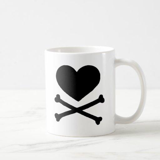 Heart and Cross Bones Coffee Mugs
