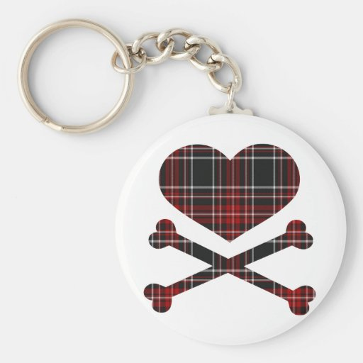 heart and cross bones red black plaid keychains