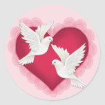 Heart and Doves - Pink Sticker