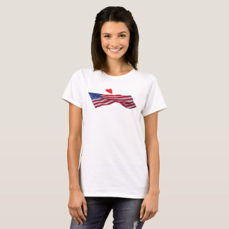 HEART AND FLAG IN THE WIND T-SHIRT