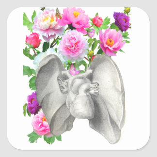 Heart  and flowers vintage design square sticker