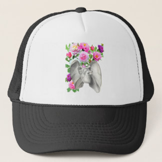 Heart  and flowers vintage design trucker hat
