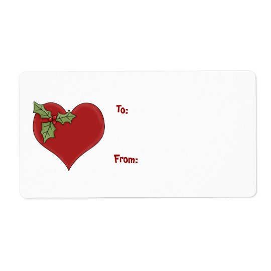 Heart and Holly Gift Label Shipping Label