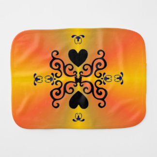 Heart and Lily on Rainbow Burp Cloth