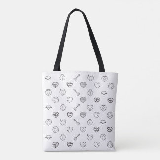 Heart and Love Pattern Tote Bag