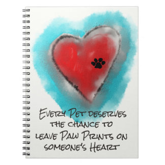 Heart and Paw Print Notebook