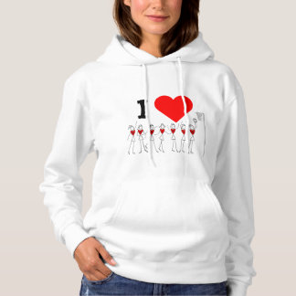 Heart and Player Positions I Love Netball Hoodie
