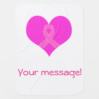 Heart and Ribbon Breast Cancer Charity Design Baby Blanket