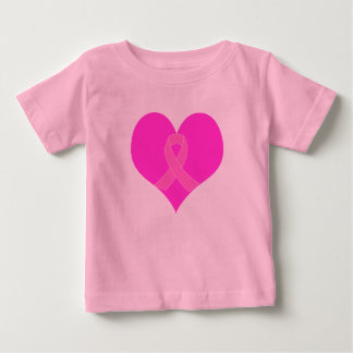Heart and Ribbon Breast Cancer Charity Design Baby T-Shirt