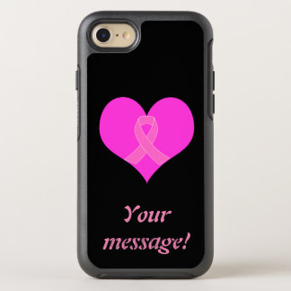 Heart and Ribbon Breast Cancer Charity Design OtterBox Symmetry iPhone 8/7 Case