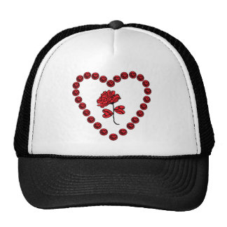 heart and rose trucker hat