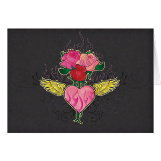 Heart and Roses Notecard