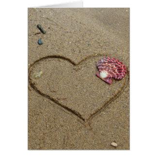 heart and shell on beach card