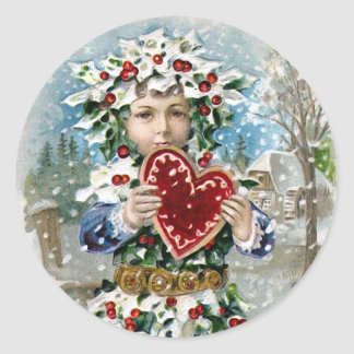 """Heart and Snow"" Vintage Christmas Round Sticker"