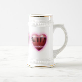 Heart and Sparkles Piano Keyboard Beer Stein