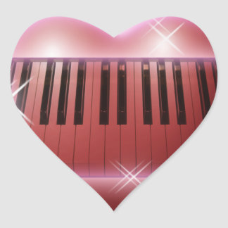 Heart and Sparkles Piano Keyboard Heart Sticker