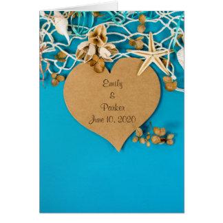 heart and starfish wedding card