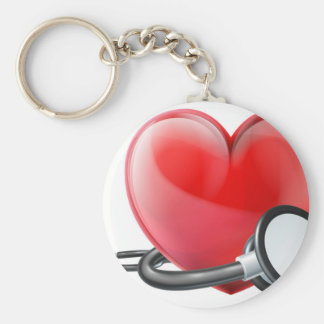 Heart and Stethoscope Concept Keychain