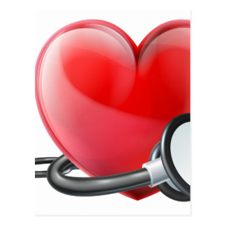 Heart and Stethoscope Concept Postcard