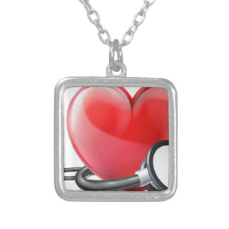Heart and Stethoscope Concept Silver Plated Necklace