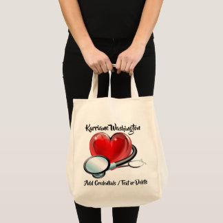 Heart and Stethoscope Medical Tote