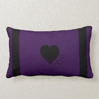 Heart and Stripe Lumbar Pillow (Dark Purple)