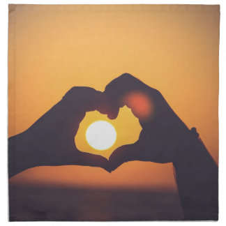 Heart And Sunset Napkin
