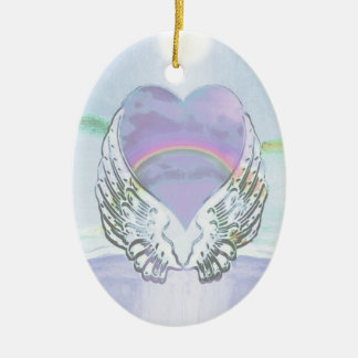 Heart, Angel Wings & Ocean Ceramic Oval Ornament