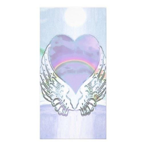 Heart, Angel Wings & Ocean Personalized Photo Card