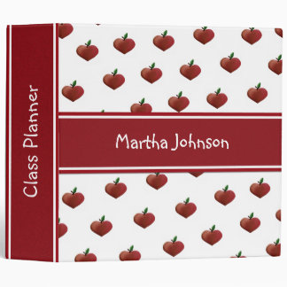Heart Apples Teacher's Class Planner Vinyl Binders