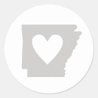 Heart Arkansas state silhouette Classic Round Sticker