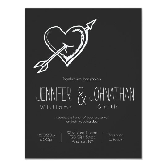 Heart arrow chalkboard wedding invitations