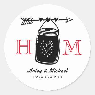 Heart Arrow Mason Jar Monogram Wedding Sticker