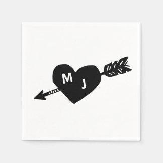 Heart & Arrow Monogram Cocktail Napkins Disposable Napkins