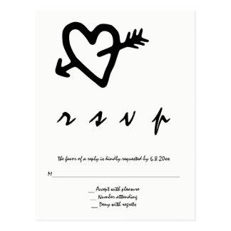 Heart arrow wedding rsvp postcards
