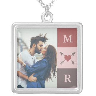 Heart Arrows Romantic Couple Initials & Photo Silver Plated Necklace