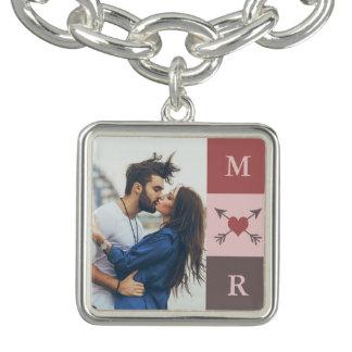 Heart Arrows Romantic Love Couple Initial & Photo Charm Bracelet